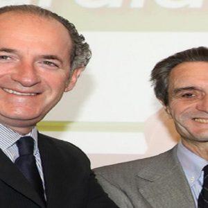 Il presidente della Lombardia, Attilio Fontana, e del Veneto, Luca Zaia