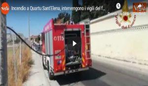Incendio a Quartu Sant'Elena, intervengono i vigili del fuoco VIDEO