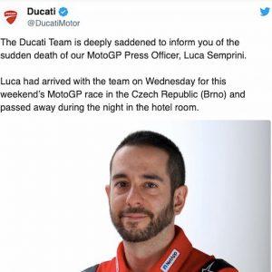 Luca Semprini morto Ducati Brno