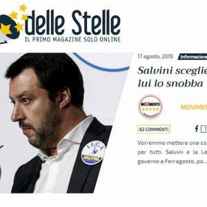 """M5s, attacco totale a Salvini sul Blog delle Stelle: """"2 di picche da Berlusconi. E ministri Lega si sono dimessi?"""""""