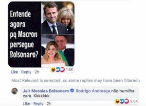 Il post su Facebook commentato da Bolsonaro