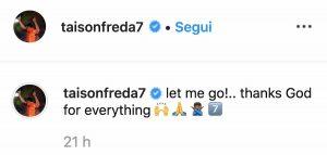 Calciomercato Roma Taison Instagram messaggio lascia pochi dubbi