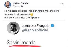 """Lorenzo Fragola su Twitter: """"Salvini m...a"""". Lui replica: """"Canta e che ti passa"""""""