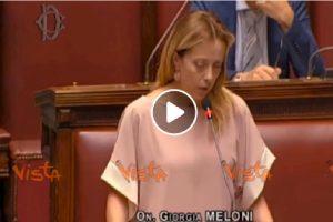 Giorgia Meloni parla in parlamento