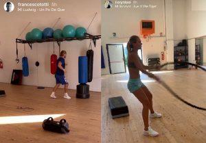Totti e Ilary Blasi, l'allenamento è una sfida social