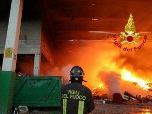 Un vigile del fuoco al lavoro, foto Ansa
