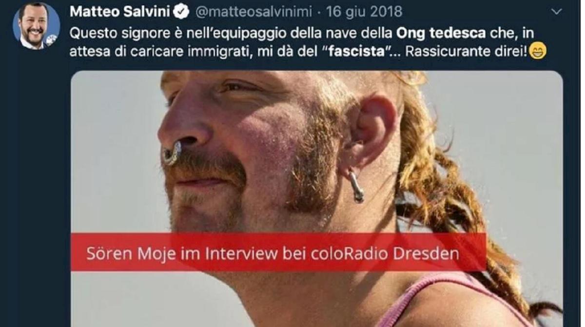Matteo Salvini condannato, pubblicata una foto su Twitter senza permesso dell'autore