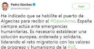 Il tweet del premier spagnolo che invita Open Arms