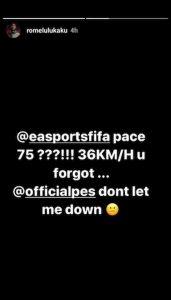 Lukaku FIFA PES Instagram Sono veloce, Konami non deludermi