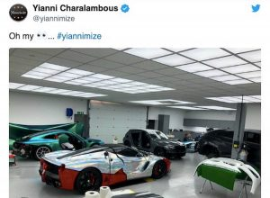 Aubameyang Ferrari cromata FOTO Yianni Charalambous Twitter