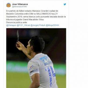 Colombia, coltello lanciato in campo