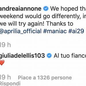 Giulia De Lellis Iannone Instagram per incoraggiarlo per assenza Misano