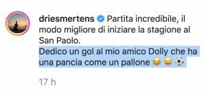 Mertens esultanza Napoli Sampdoria amico Dolly katrin kerkhofs incinta