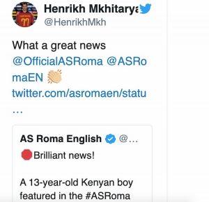 Mkhitaryan annuncio bambino scomparso