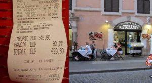 Roma scontrino ristorante turiste
