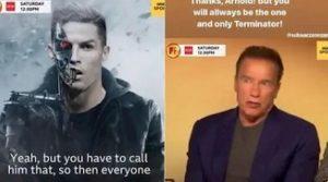Arnold Schwarzenegger Cristiano Ronaldo Instagram botta e risposta su Terminator
