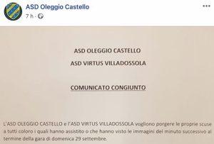 Oleggio Castello Villadossola rissa comunicato congiunto due società