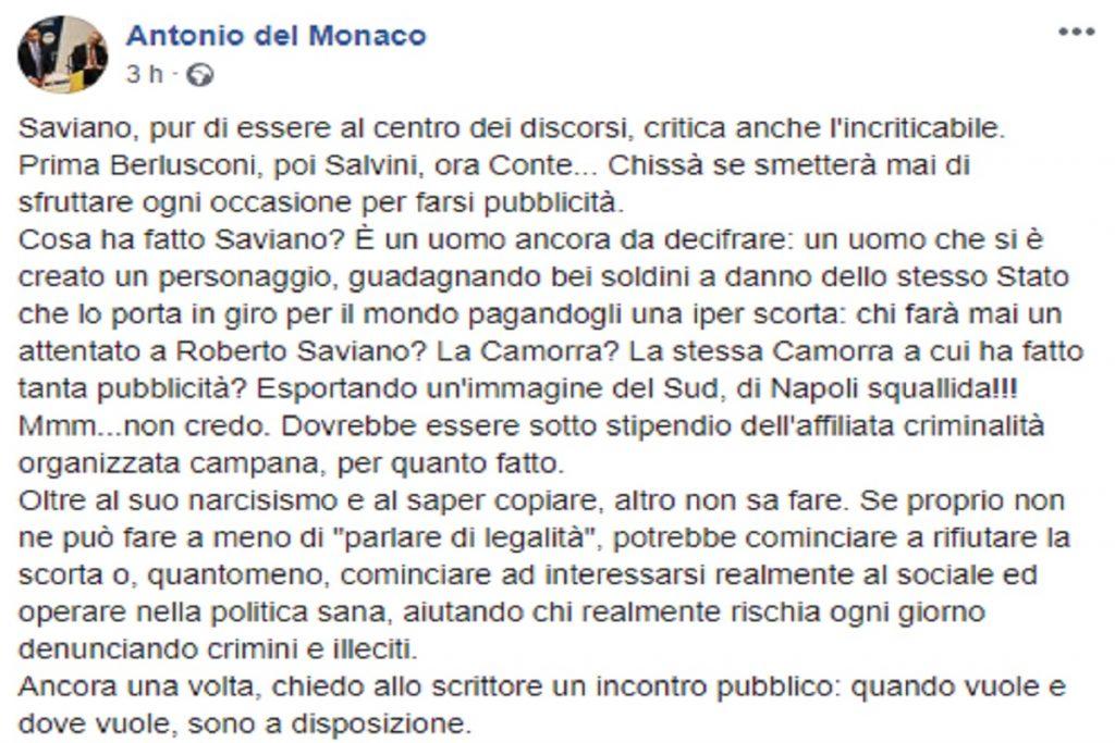Il post di Antonio Del Monaco contro Roberto Saviano