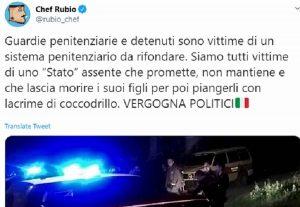 """Chef Rubio, tweet contro lo Stato dopo Orta Nova: """"Agenti penitenziari sotto stress per colpa dei politici"""""""