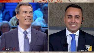 """DiMartedì, lapsus di Di Maio: """"Nella maggioranza tre forze politiche"""". Floris: """"Temo dimentichi Renzi..."""""""
