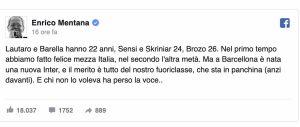 Enrico Mentana Barcellona Inter Conte vero fuoriclasse nerazzurri