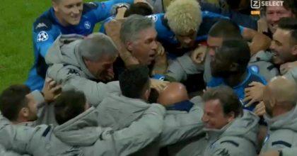 Insigne Ancelotti Salisburgo Napoli abbraccio dopo gol decisivo in Champions