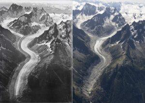 Monte Bianco, ghiacciaio stravolto: foto confronto tra il 1919 e il 2019