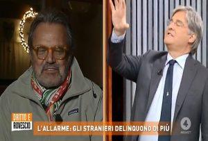 Un momento dello scontro tra Paolo Del Debbio e Oliviero Toscani
