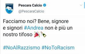 """Pescara, tifoso critica società per impegno nella lotta al razzismo. Il club lo """"cancella"""""""