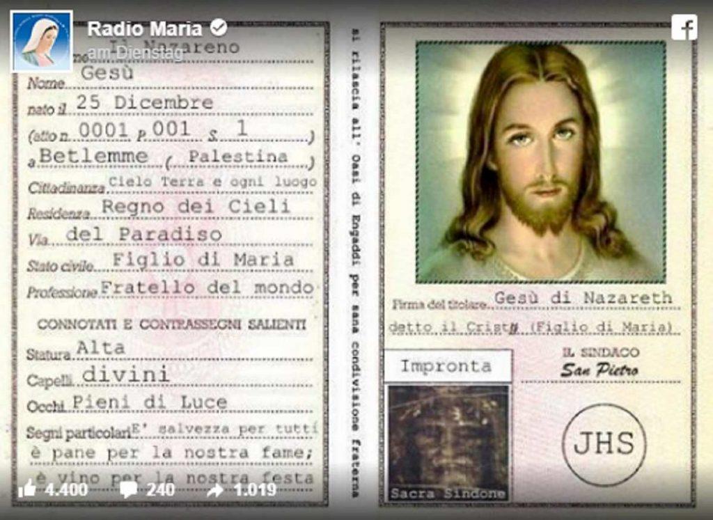 carta identità radio maria