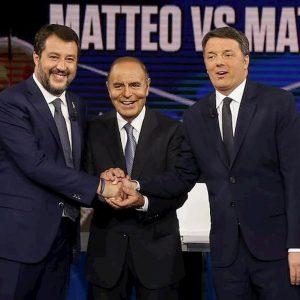 Salvini, Vespa e Renzi (Ansa)