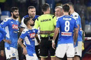 Napoli Ancelotti squalificato un turno proteste Atalanta