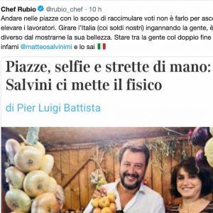"""Chef Rubio contro Salvini: """"Stare tra la gente col doppio fine è da infami"""""""