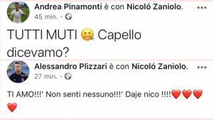 Zaniolo Capello Pinamonti Scamacca Instagram per difendere compagno Nazionale