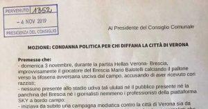 """""""Verona diffamata, denunciare Balotelli"""": la mozione di Andrea Bacciga, consigliere di maggioranza"""