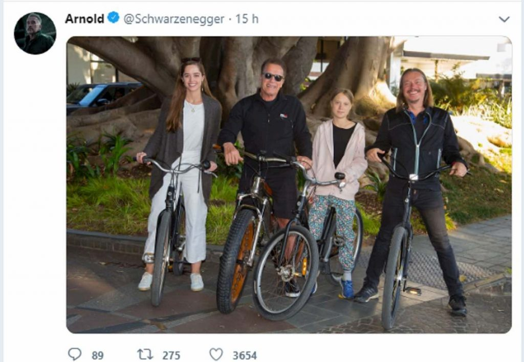 Arnold Schwarzenegger insieme a Greta Thumberg