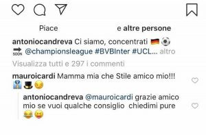 Mauro Icardi Antonio Candreva siparietto divertente su Instagram FOTO