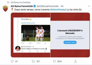 Manuela Giugliano offesa su Twitter, la Roma blocca il tifoso