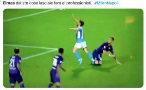 Milan-Napoli, niente rigore: simulazione Elmas. Social ironizzano: Impara da Mertens