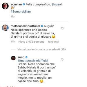 Salvini punzecchia Suso su Instagram e lui risponde così