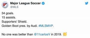 MLS schiaffo Ibrahimovic Carlos Vela miglior calciatore campionato