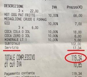 scontrino 120 euro per 4 panini