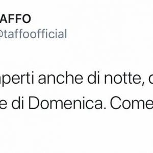 """Taffo prende in giro Salvini: """"Anche noi aperti di notte, di sabato e di domenica. Come in Veneto"""""""