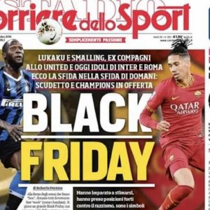 Black Friday la prima pagina del Corriere dello Sport