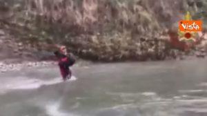 Cane scivola nel fiume, salvato dai Vigili del Fuoco VIDEO