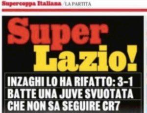 Lazio vince Supercoppa, Gazzetta usa il giallorosso per il titolo