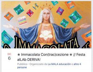 """""""Immacolata contraccezione"""", a Bologna il party più anti-Lega che blasfemo"""