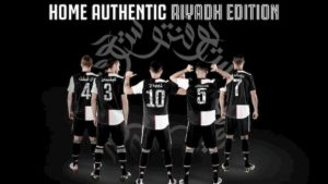 Supercoppa Italiana, Juventus con maglia con nomi e numeri in arabo