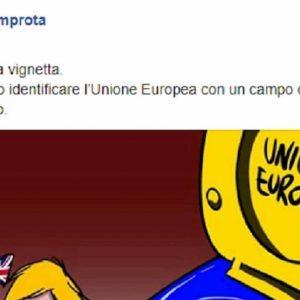 Marione (Mario Improta) e la vignetta della Ue come Auschwitz. Poi cambia il lager in...water