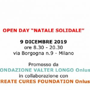 Natale Solidale, luned' 9 dicembre open day di Valter Longo Onlus e Create Cures Foundation